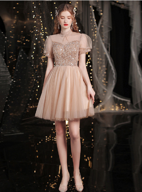 In Stock:Ship in 48 Hours Tulle Puff Sleeve Beading Sequins Short Prom Dress