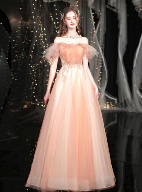 In Stock:Ship in 48 Hours Soft Pink Tulle Pleats Beading Prom Dress