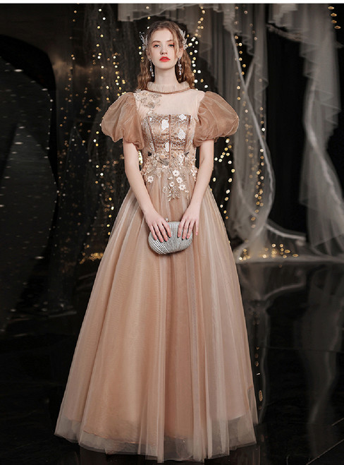 In Stock:Ship in 48 Hours Gold Tulle Appliques Puff Sleeve Prom Dress