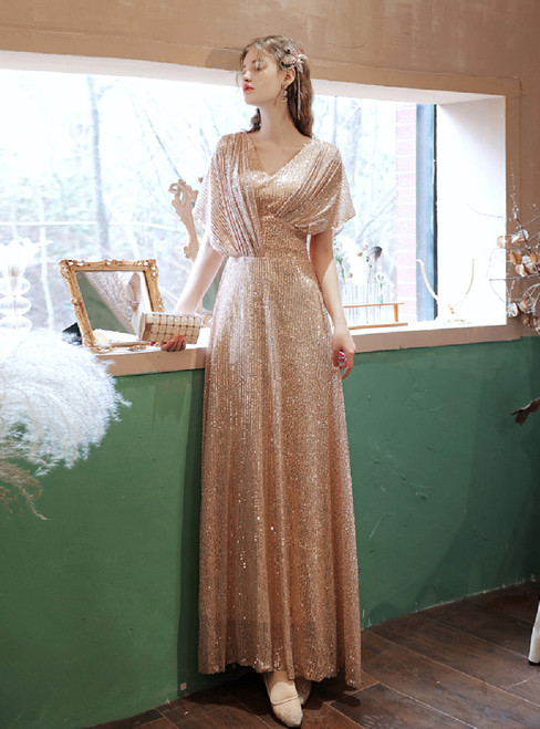 In Stock:Ship in 48 Hours Gold Sequins V-neck Pleats Prom Dress