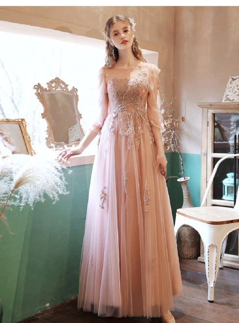 In Stock:Ship in 48 Hours Pink Tulle Long Sleeve Prom Dress