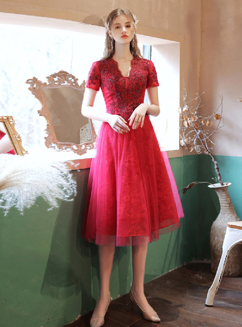 In Stock:Ship in 48 Hours Burgundy Tulle Lace Beading Prom Dress