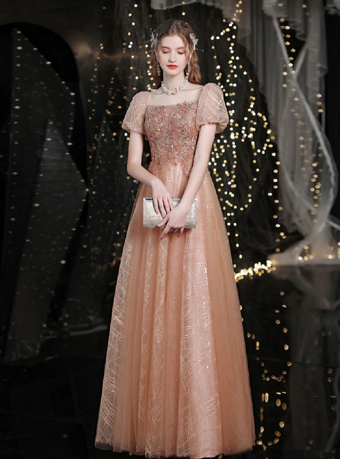 In Stock:Ship in 48 Hours Gold Tulle Beading Sequins Square Prom Dress