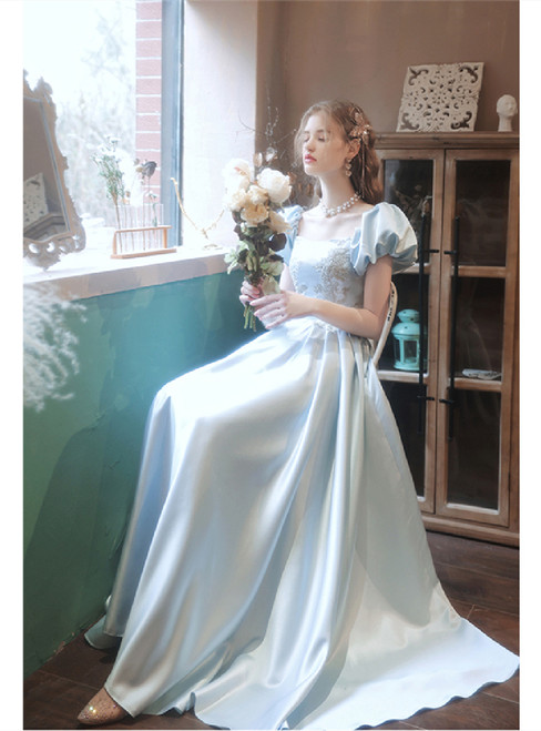 In Stock:Ship in 48 Hours Blue Satin Puff Sleeve Appliques Prom Dress