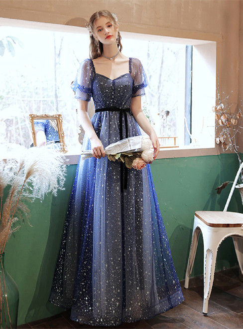 In Stock:Ship in 48 Hours Blue Tulle Short Sleeve Prom Dress