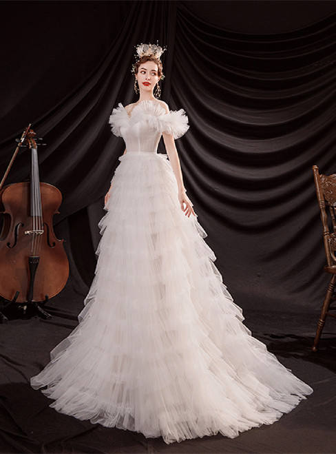 In Stock:Ship in 48 Hours Tulle Tiers Wedding Dress