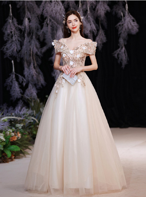 In Stock:Ship in 48 Hours Appliques Tulle V-neck Wedding Dress