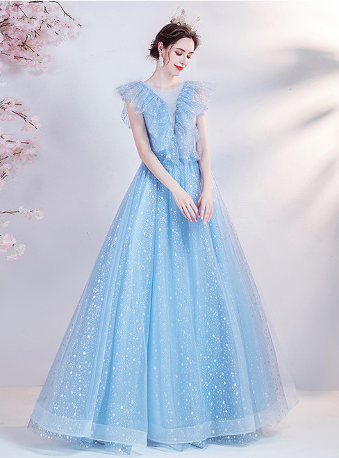 In Stock:Ship in 48 Hours Tulle Sequins Prom Dress