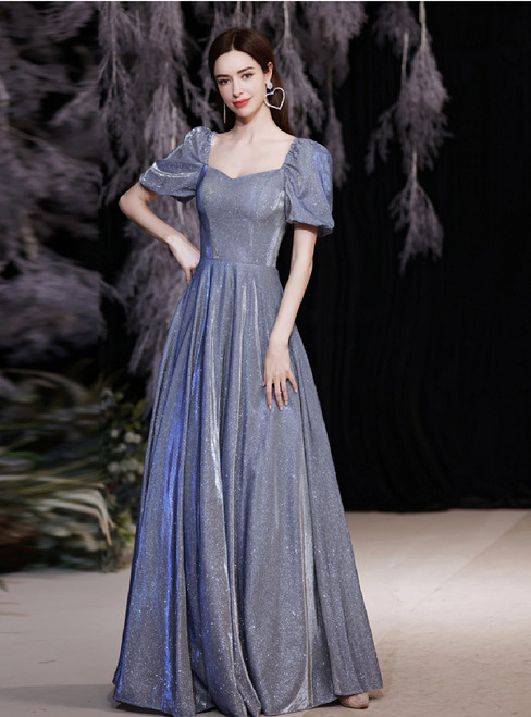 In Stock:Ship in 48 Hours Blue Square Puff Sleeve Prom Dress