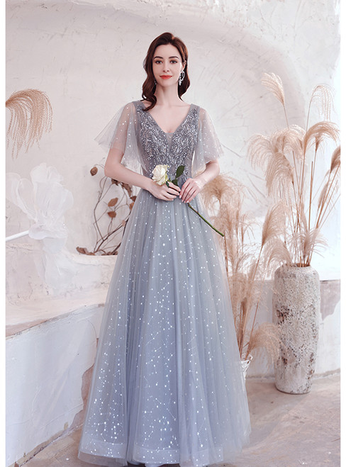 In Stock:Ship in 48 Hours Gray Tulle Sequins Beading Prom Dress