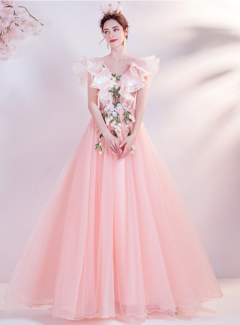 In Stock:Ship in 48 Hours Pink Tulle V-neck Colorful Appliques Prom Dress
