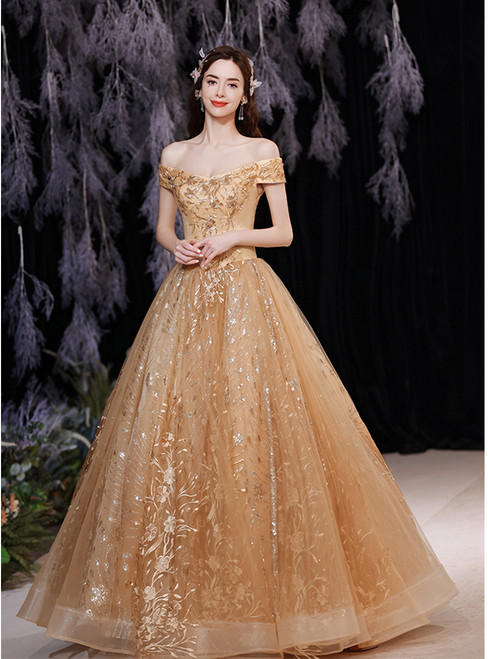 In Stock:Ship in 48 Hours Gold Tulle Sequins Appliques Prom Dress