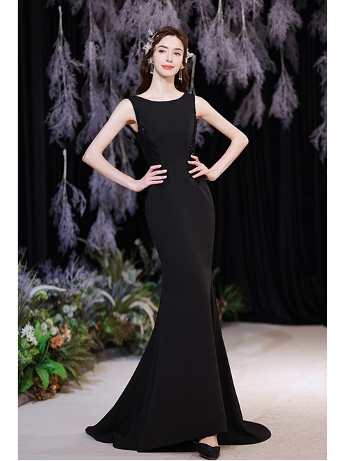 In Stock:Ship in 48 Hours Black Mermaid Beading Prom Dress