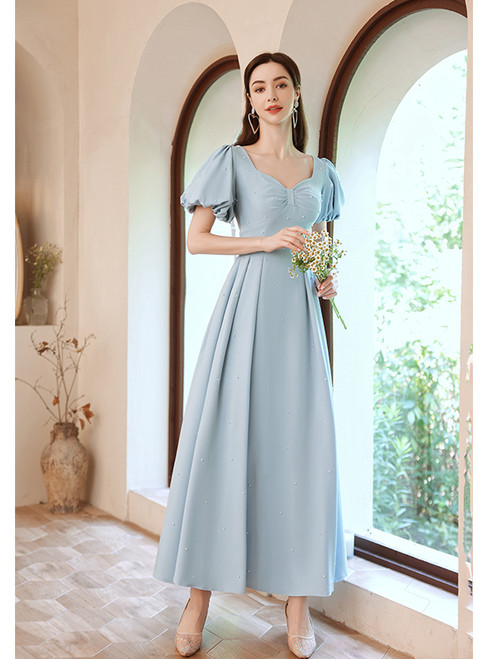 In Stock:Ship in 48 Hours Blue Satin Puff Sleeve Pearls Prom Dress