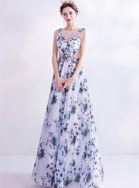 In Stock:Ship in 48 Hours Blue Print Sequins Appliques Prom Dress