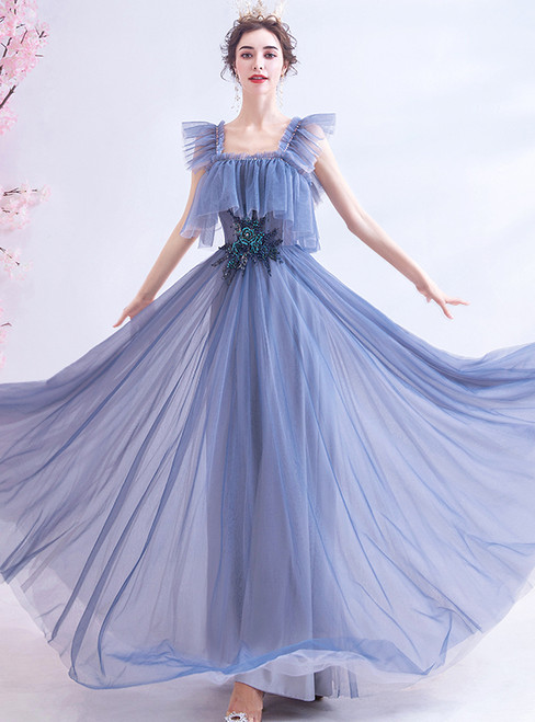 In Stock:Ship in 48 Hours Haze Blue Tulle Beading Prom Dress