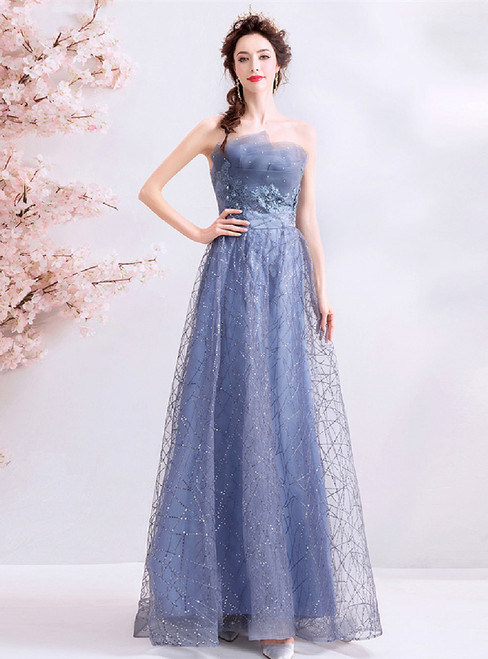 In Stock:Ship in 48 Hours Blue Sequins Strapless Appliques Prom Dress