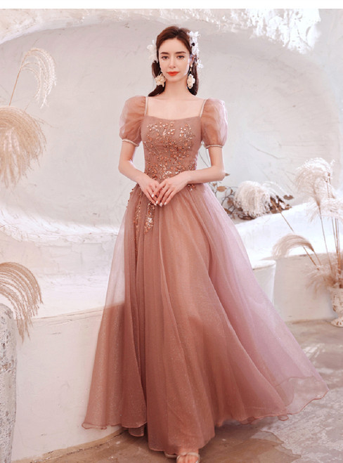 In Stock:Ship in 48 Hours Pink Short Sleeve Beading Sequins Prom Dress