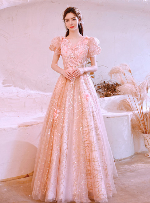 In Stock:Ship in 48 Hours Sequins Tulle Appliques Feather Prom Dress