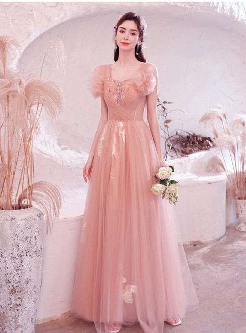 In Stock:Ship in 48 Hours Pink Tulle Pleats Pearls Prom Dress