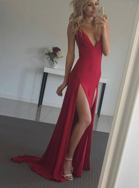 Deep V-neck Backless Red Evening Dress with Both Side Slits