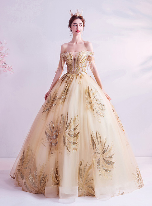 In Stock:Ship in 48 Hours Gold Ball Gown Sequins Quinceanera Dresses