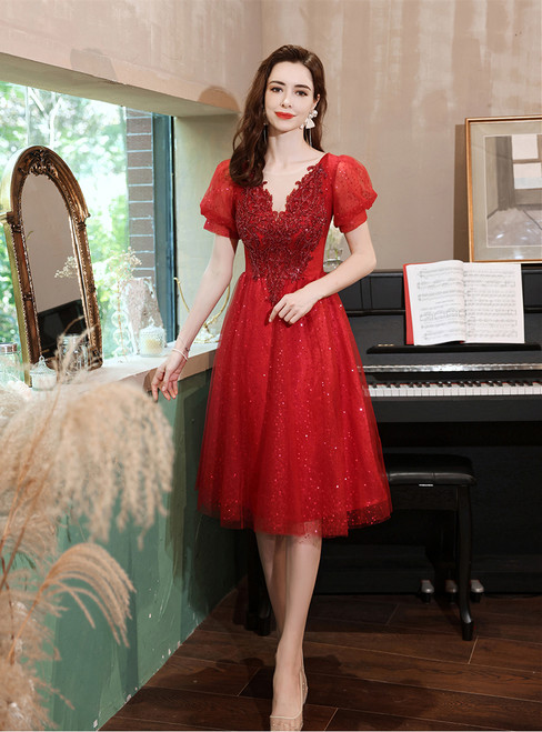 In Stock:Ship in 48 Hours Tulle Puff Sleeve Beading Prom Dress