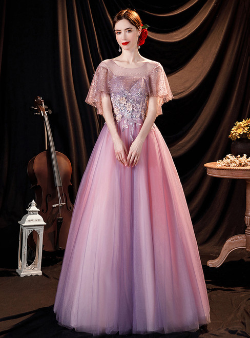In Stock:Ship in 48 Hours Purple Tulle Appliques Sequins Prom Dress