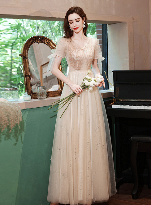 In Stock:Ship in 48 Hours Champagne Tulle Puff Sleeve Prom Dress