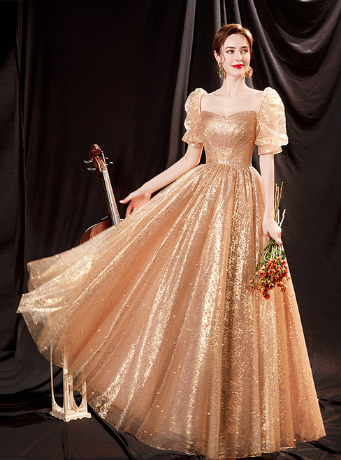In Stock:Ship in 48 Hours Gold Sequins Short Sleeve Prom Dress