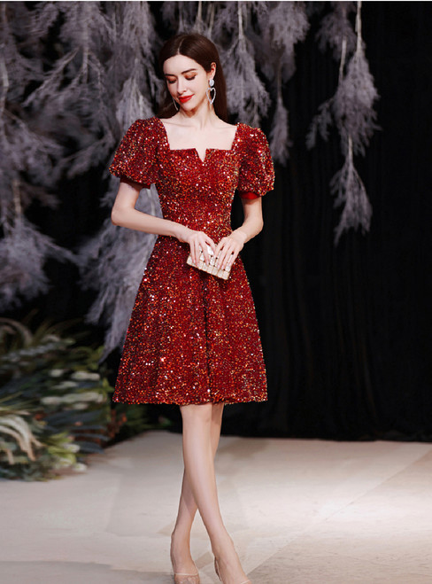 In Stock:Ship in 48 Hours Red Sequins Puff Sleeve Short  Prom Dress