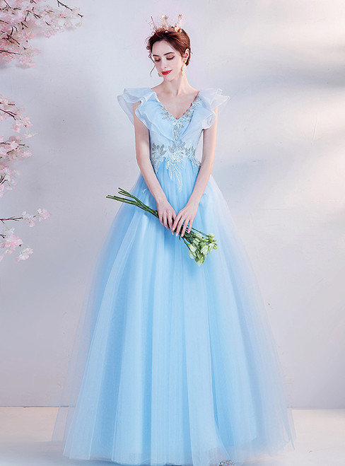 In Stock:Ship in 48 Hours Blue Appliques Tulle V-neck Prom Dress