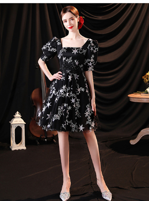 In Stock:Ship in 48 Hours Square Short Sleeve Prom Dress