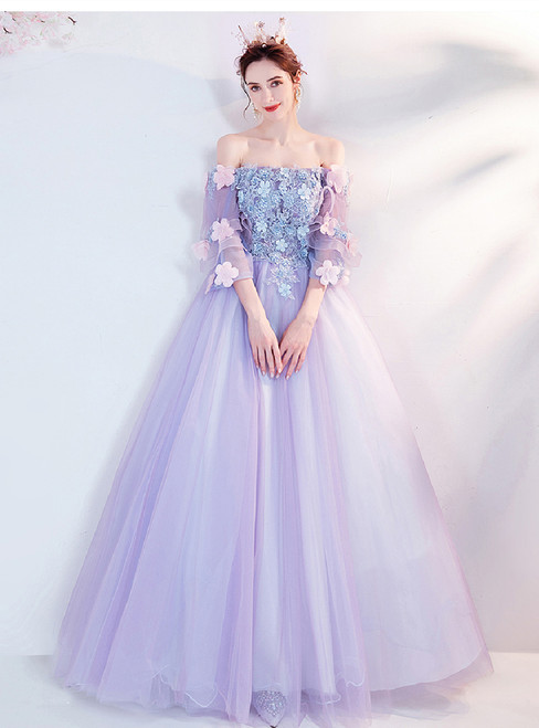 In Stock:Ship in 48 Hours Purple Tulle Appliques Puff Sleeve Prom Dress