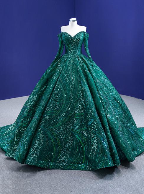 Green Sequins Long Sleeve Off the Shoulder Prom Dress