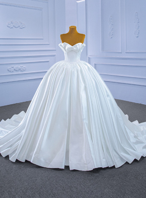 Ball Gown White Satin Sweetheart Wedding Dress