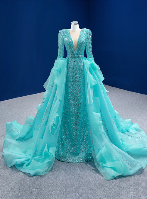 Blue Sequins Long Sleeve Pearls Prom Dress With Detachable Train
