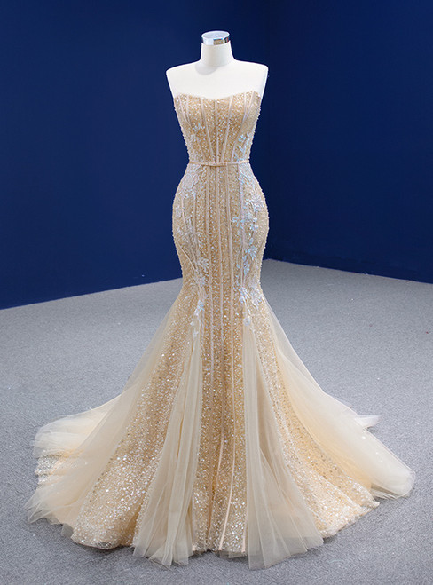 Champagne Mermaid Sequins Tulle Strapless Appliques Prom Dress