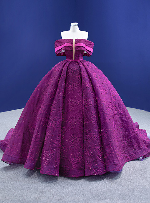 Purple Ball Gown Lace Pearls Off the Shoulder Prom Dress