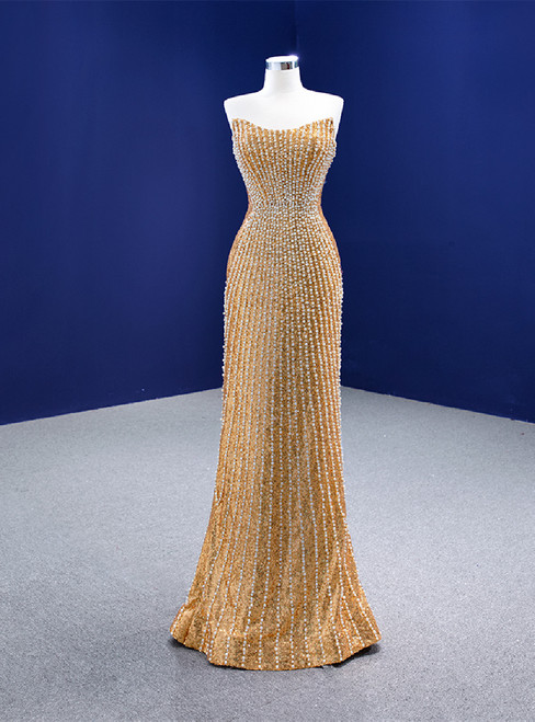 Gold Mermaid Sequins Strapless Pearls Prom Dress