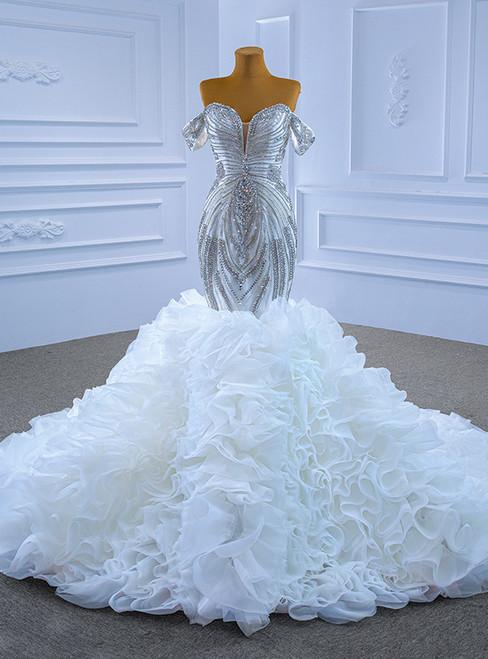 Luxury White Heavy Beading Crystal Wedding Dress