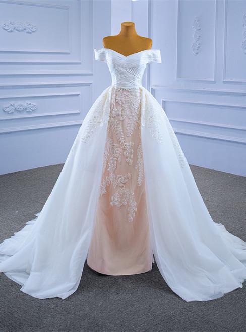 White Tulle Appliques Pleats Off the Shoulder Wedding Dress