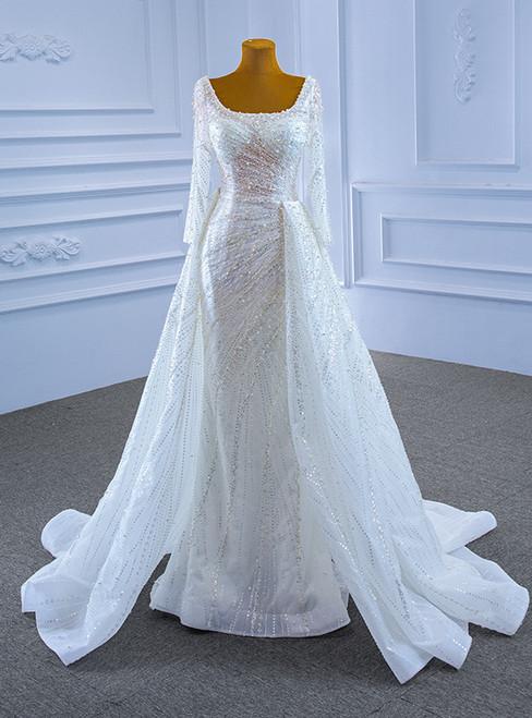 White Mermaid Sequins Square Long Sleeve Pearls Wedding Dress