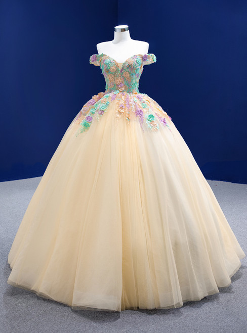 Champagne Ball Gown Tulle Colorful Appliques Prom Dress