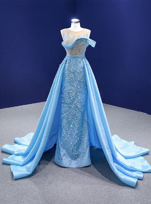 Sky Blue Satin Sequins Beading Prom Dress