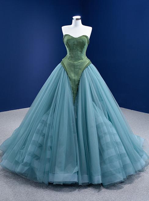 Green Satin Tulle Sweetheart Prom Dress