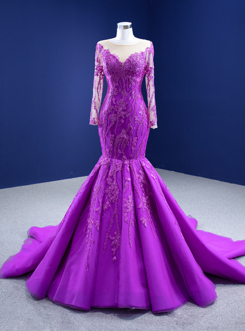 Purple Tulle Appliques Long Sleeve Prom Dress