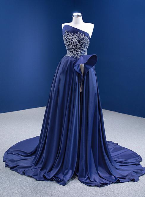 Navy Blue Satin Strapless Beading Crystal Prom Dress With Split