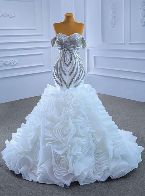 White Mermaid Organza Beading Crystal Wedding Dress
