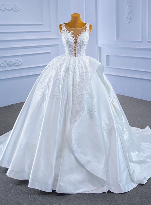 White Satin Appliques Pearls See Through Wedding Dress